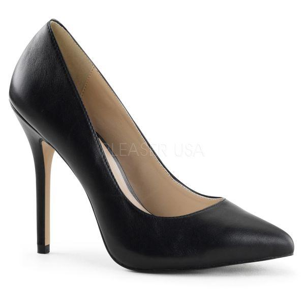 Klassische schwarze High Heel Leder Pumps AMUSE-20